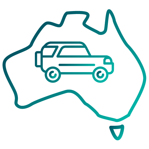 Car inside a map of Australia